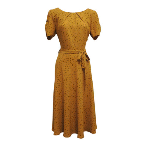 1940s Dresses | 40s Dress, Swing Dress    New Ladies Mustard Yellow Polka Dot WWII 1930s 40s Vtg style Wartime Tea Dress £32.99 AT vintagedancer.com