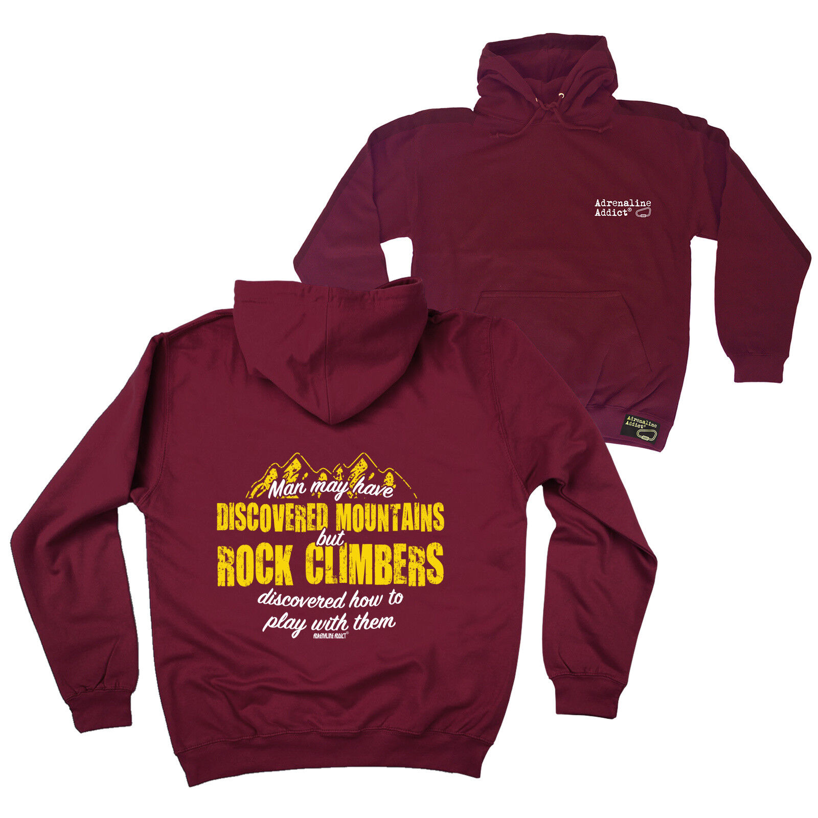 FB Rock Climbing Hoodie - Discovered Mountains - Novelty Birthday Hoody Jumper