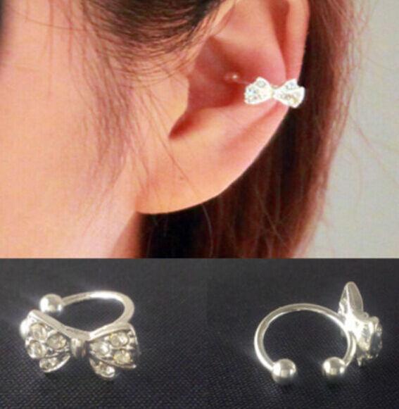 Korea Vogue ue 1pc Bowknot Bow Rhinestone Crystal Lady Ear Bone Clip Earring