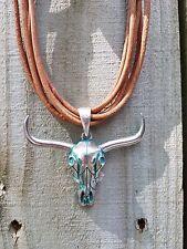 Cowgirl gypsy Longhorn bull head skull western PENDANT on LEATHER CHOKER NECKLAC