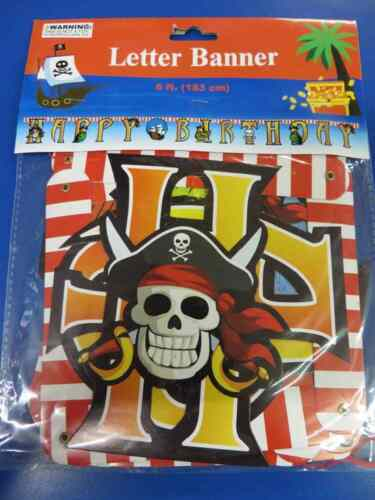 Pirate Parrot Skull Crossbones Birthday Party Decoration Jointed Letter Banner