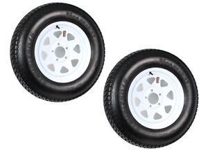 2-Pk-Trailer-Tire-On-Rim-ST205-75D15-205-75-15-in-LRC-5-Hole-White-Spoke-Wheel