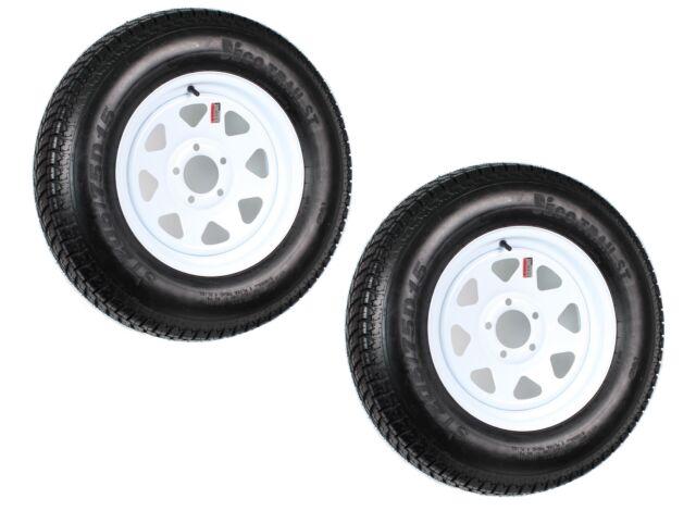 2-Pack Trailer Tire On Rim ST205/75D15 205/75 D 15 in. LRC 5 Hole White Spoke
