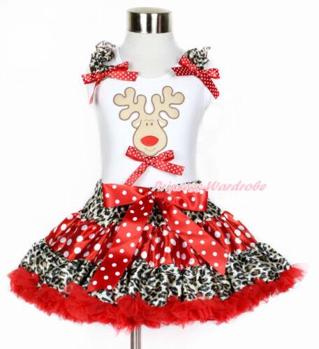 XMAS Christmas Reindeer White Tank Top Leopard Minnie Dot Girl Pettiskirt 1-8Y