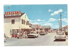 WELLS-BEACH-ME-Parent-039-s-Market-Vtg-1960-039-s-Cars-Postcard