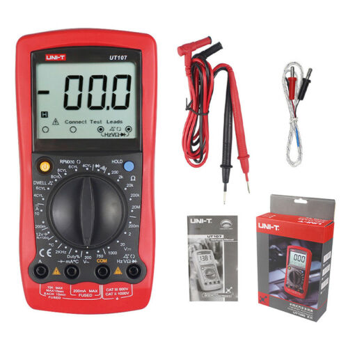 Automotive Multimeter UNI-T UT107 LCD DMM ACV//DCV Tester Tach Dwell Temp RPM Tes