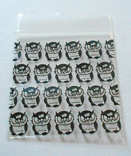 200 Black Hooters 1.5x1.5 Owl Pattern Baggies (1515) Tiny Poly Ziplock Dime Bags
