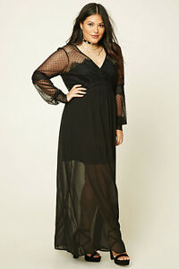 Details about Forever 21 Plus Size Black Polka Dots Lace Maxi Dress -OX