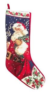 Christmas-Needlepoint-Stocking-SANTA-CLAUS-Wool-Yarn-Finished-Ready-To-Hang