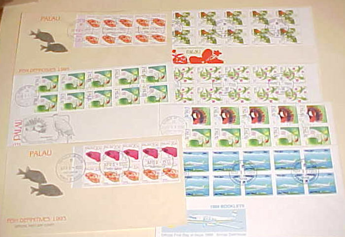 PALAU 7 DIFF. FDC  BOOKLET PANES face value $20.50 CACHET UNADDRESSED