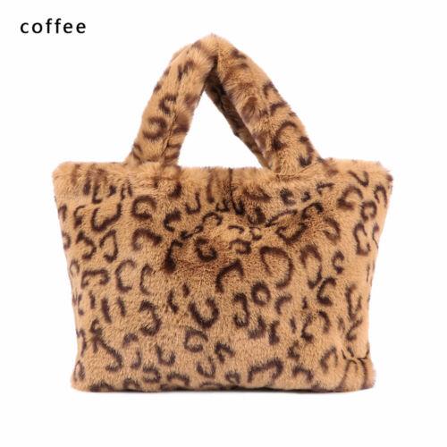 Plüsch Groß Warme Pelzbeutel Messenger Bag Winter Handtasche Leopard