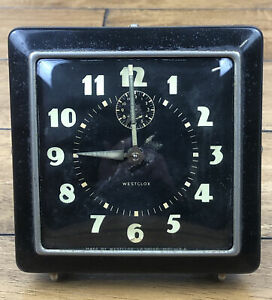 Vintage Westclox Wind Up Luminous Alarm Clock Black Art Deco 1940's