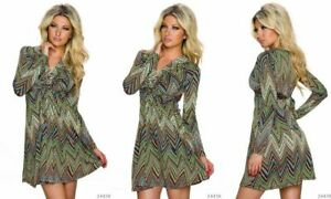 New-Green-A-Line-Dress-Chevron-Print-Front-Twist-Long-Sleeved-Retro-70s