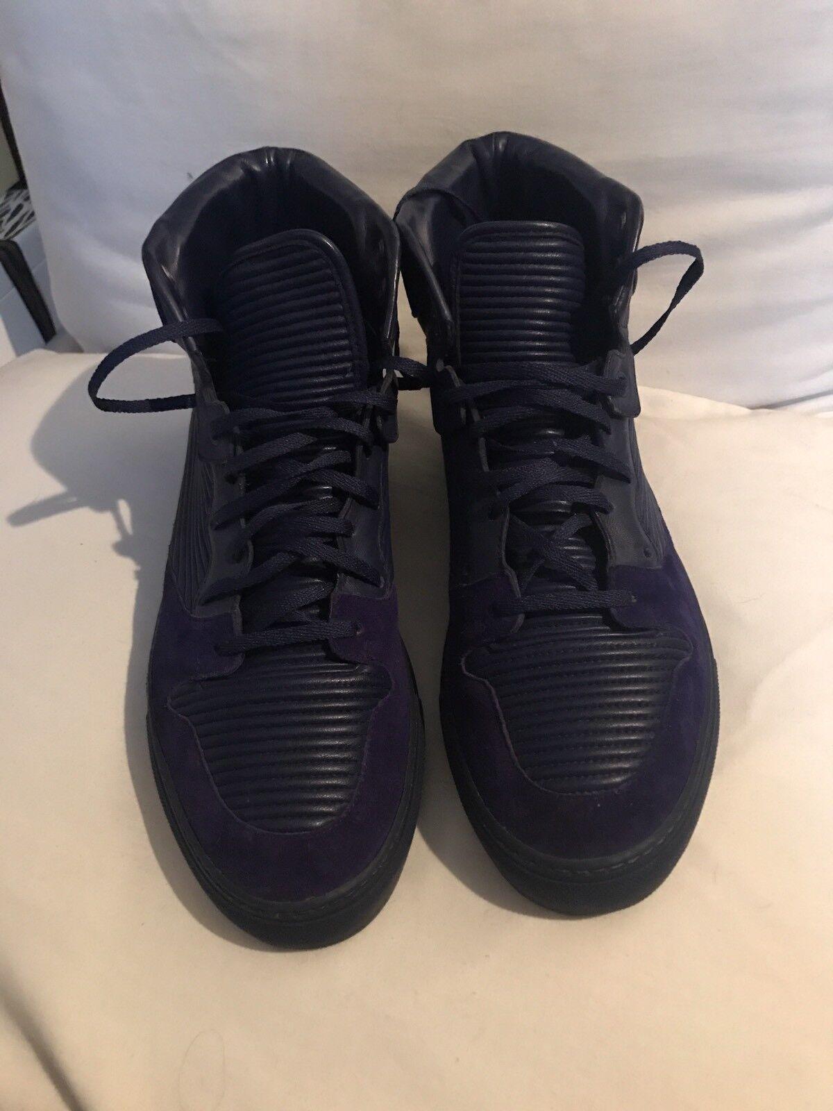 Scarpe casual da uomo  Balenciaga Monochrome Size 41 Blue Calfskin Leather Sneakers 100%AUTHENTIC