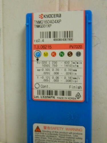 Kyocera Cermet Turning Insert TNMG331 XP Grade PV7020 Qty 10 8808818