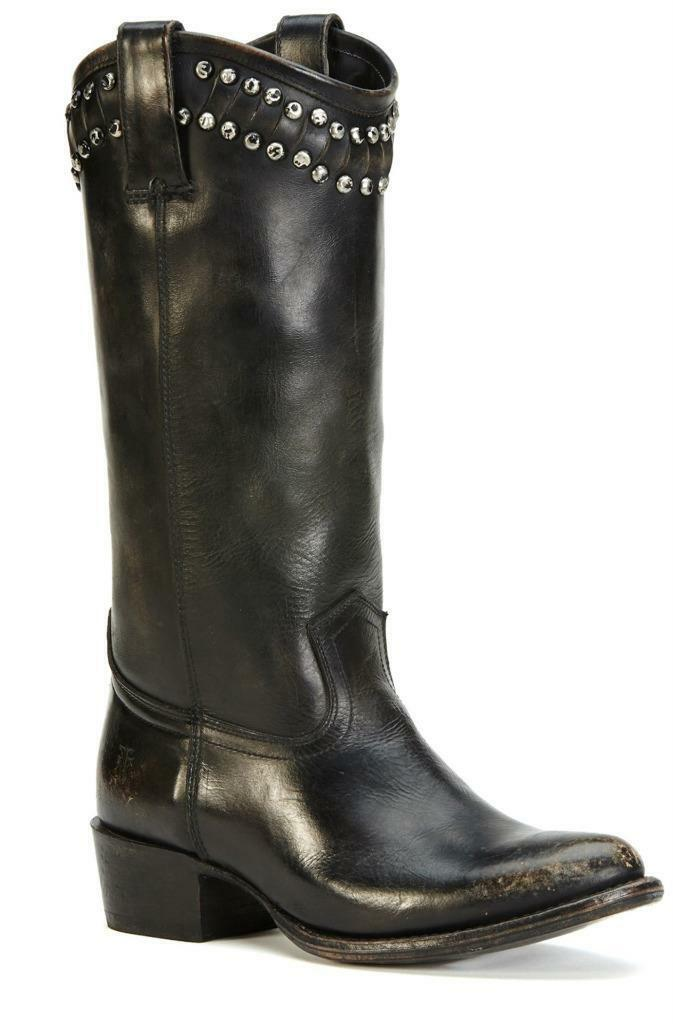New in Box - 428 FRYE Diana Cut Stud Tall Black Stonewash Boots Size 8.5