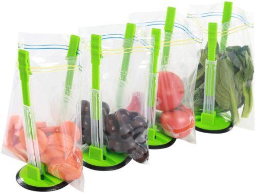 Baggy Rack Clip Storage Holder Hands Free Operation Plastic Bag Bracket 4 Pcs