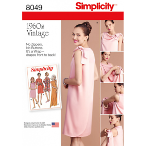 Simplicidad misses de Época Década de 1960 tres Sisa Vestido Envolvente patrón de costura 8049