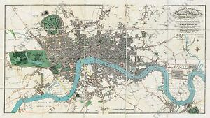 London Karte.Details Zu Old Antique Victorian Map Of London Guide Plan Edward Mogg 1814 Art Poster Print