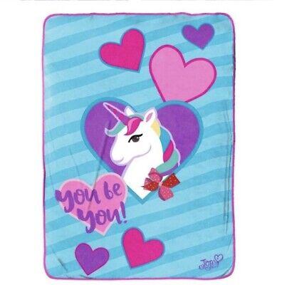 Jojo Siwa Nickelodeon 46x60 Plush Fleece Throw Blanket Purple Pink Heart
