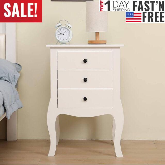 End Bedside Table Nightstand Chest Cabinet Bedroom Furniture Drawer Baskets