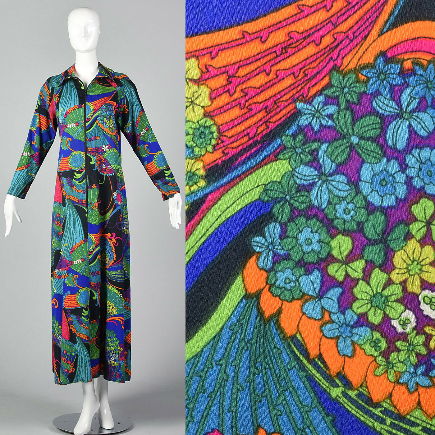 L 1970s Long Sleeve Maxi Dress Zip Front Bright MultiFarbe Print Loungewear 70s