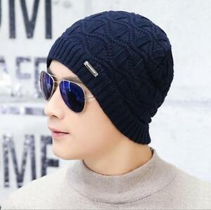 6c6a868b47ee7 Men s Thick Winter Solid Beanie Hat Cotton Knit Warm Villi Lined ...