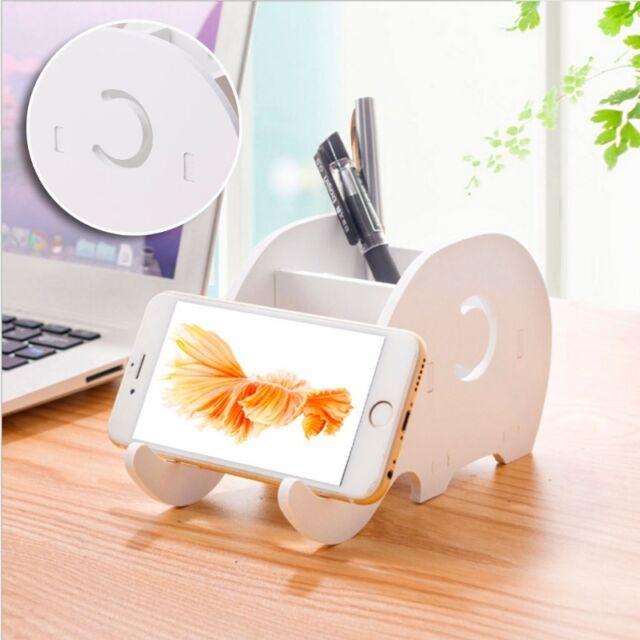 Desktop Wood Elephant Pencil Holder Phone Holder Pen Bracket Stand Storage Rack@