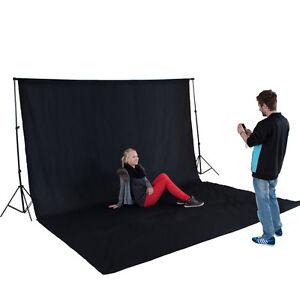 Teleskop-Fotostudio-Komplettset-Hintergrundsystem-inkl-Hintergrund-6x3m-schwarz