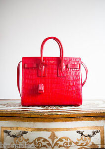 New Saint Laurent Paris Red Croc Print Small Sac De Jour