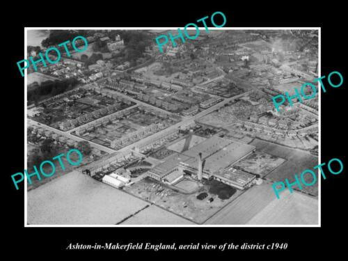 OLD LARGE HISTORIC PHOTO ASHTON IN MAKERFIELD ENGLAND, THE AERIAL VIEW c1940 2
