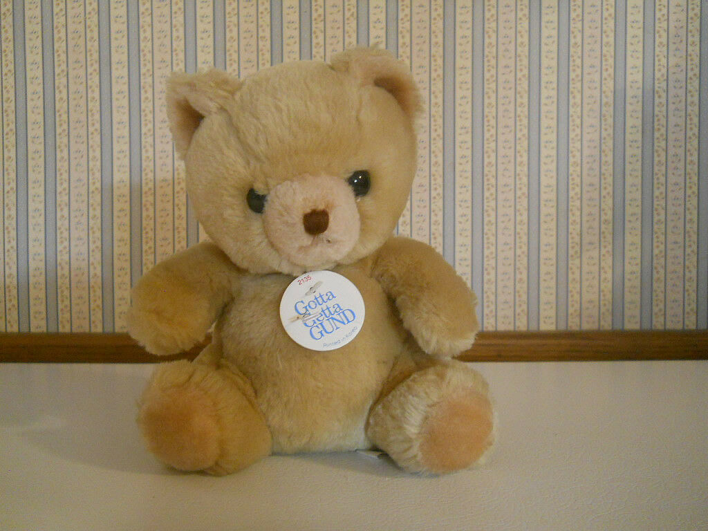 Vintage 1981 Tan color Teddy Bear plush stuffed 8  tall with TAGS GUND