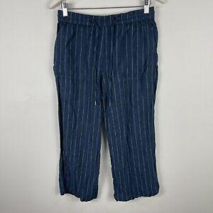 Sussan-Linen-Blend-Pants-Womens-8-Blue-Striped-Elastic-Waist-Drawstring