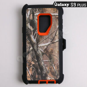 new product a6fef 70c91 Details about For Samsung Galaxy S9 Plus Orange/Tree Camo Defender Case  (Clip Fits Otterbox)