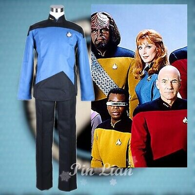 Star Trek TNG The Next Generation Blue Jumpsuit Halloween Cosplay Costume