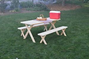Pressure Treated Pine Cross Leg Picnic Table With Detached Benches - Picnic table with removable benches