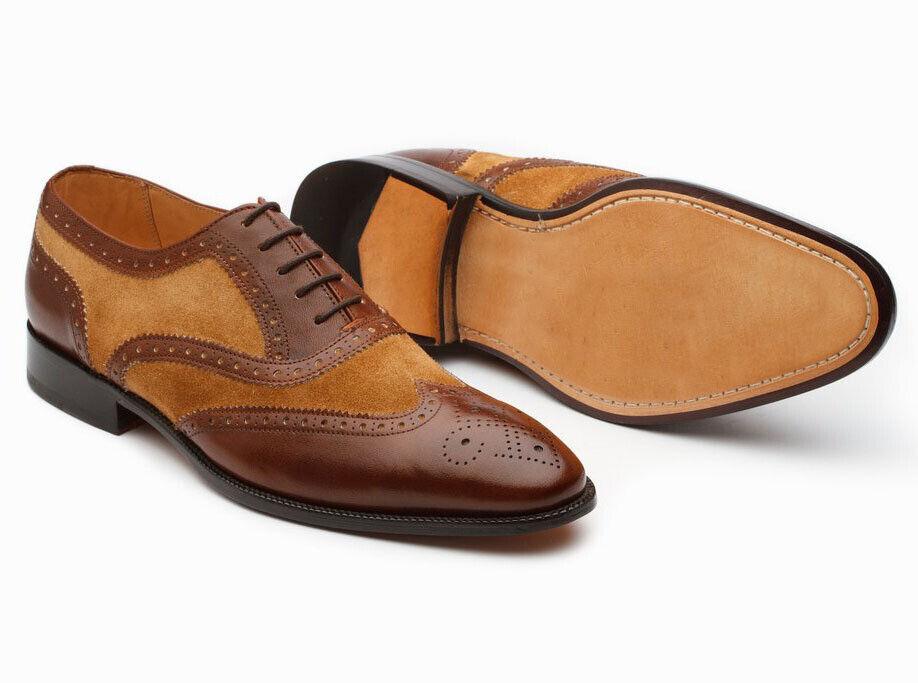 Zapatos para hombre hecho a mano Wing Tip espectador dos tonos de cuero de gamuza estilo formal de arranque