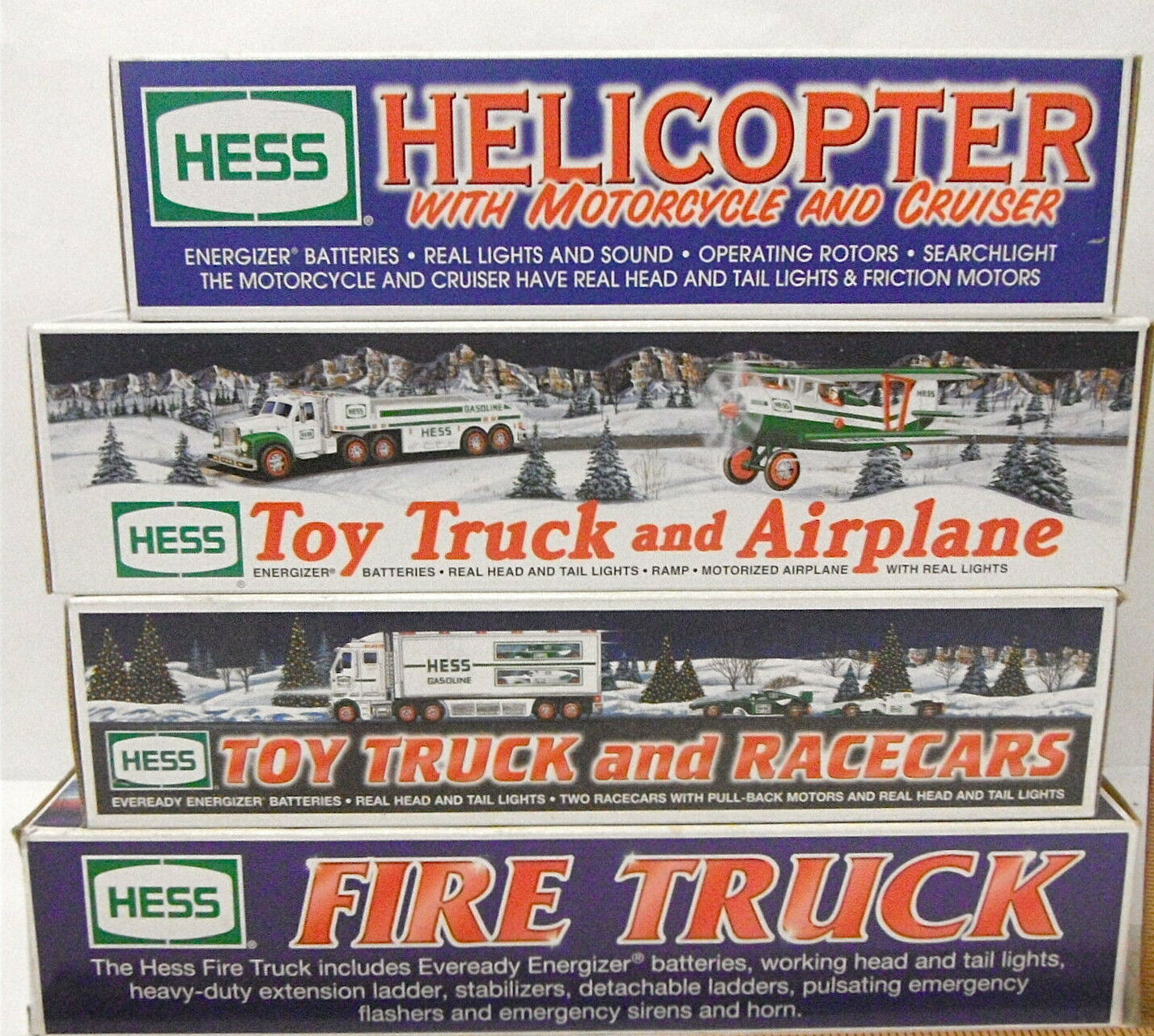 4 pc 2000 2002 2002 2003 Amerada Hess Truck Vehicles Outnyttjad Helikopter Airplan
