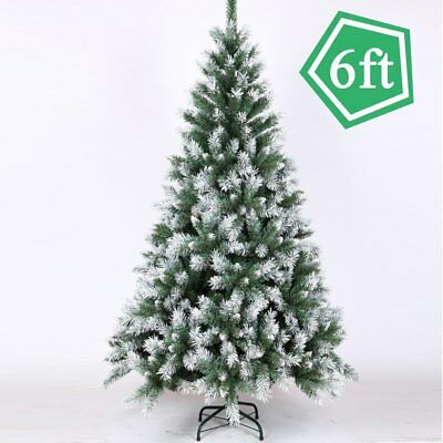 Christmas Tree Spray Snow.6ft 1 8m Artificial Christmas Tree White Snow Flock Winter Decor W Stand B2 Ebay