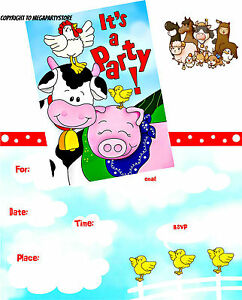 Image Is Loading 8 Farmyard Friends Party Invitations Children 039 S