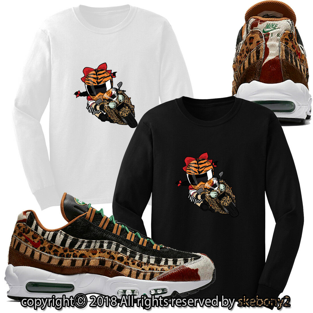 atmos x Nike Air Max 95 Animal Pack 2.0 KUND LONG SLEEVE T SHIRT AM95 1-1-7-L