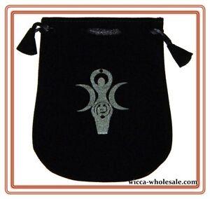 "Black Velvet Bag / Pouch 5"" x 5"": Goddess (Wicca Talisman Drawstring) Tarot"