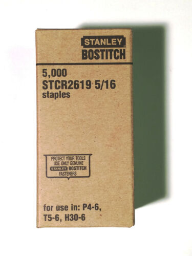 """5,000 Staples // Box for P4-6 H30-6 T5-6 Stanley BOSTITCH STCR2619 5//16/"""""""