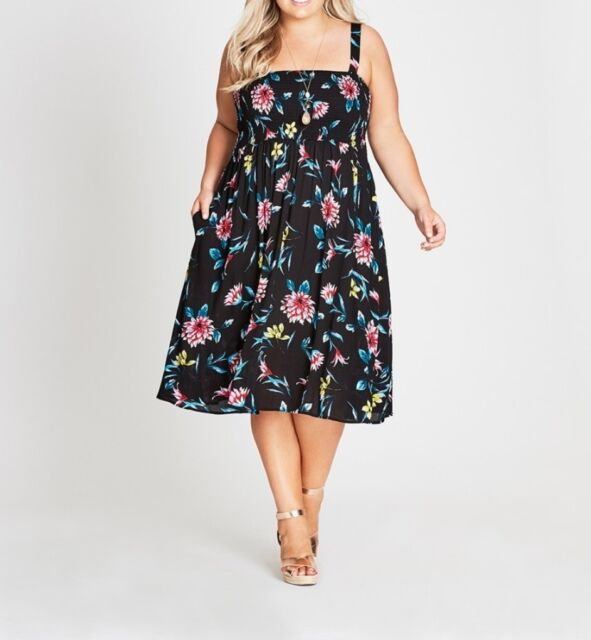 Plus Size Autograph Black Floral Shirred Cheesecloth Viscose Midi Dress Size 20