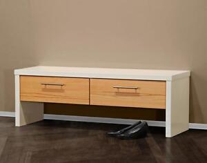 garderobenbank bank garderobe sitzbank diele wei hochglanz kernbuche massiv ebay. Black Bedroom Furniture Sets. Home Design Ideas