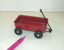 Dolls House Toy Shop Nursery Accessory Pull Along Red Metal Truck Cart Wagon