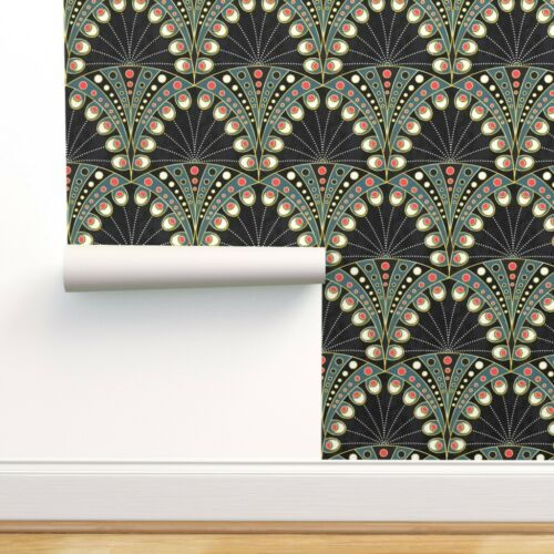 Removable Water-Activated Wallpaper Art Deco Peacock Feather Geometric