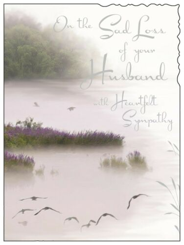 Triste perte de votre mari Lake Design Lovely verset sympathie condoléances Carte