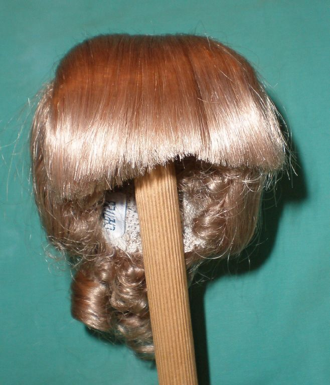 Doll wig  human hair 11 11 11 to 11.5  blond fringe with curls at the backside hand k 377e35