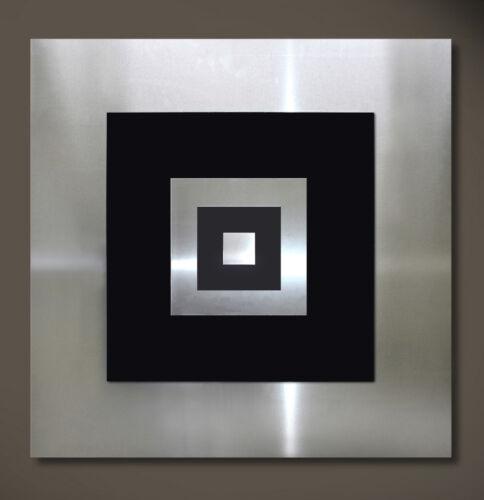 ORIGINAL ABSTRAKT METALL Bild Wandbild Modern Art Design Schwarz Silber Unikat